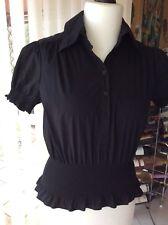 APART Kurzarm-Bluse, Gr. 38, gesmokt, schwarz