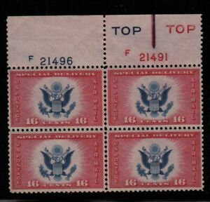 1936 Air Mail Special Delivery 16c Sc CE2 Type 4 MNH plate block CV $20 (Z3