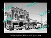 OLD POSTCARD SIZE PHOTO OF THE IPSWICH QLD FIRE BRIGADE STATION c1959