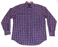 Bugatchi Uomo Men's Size XL Flip Cuff Purple Plaid Button Down Long Sleeve Shirt