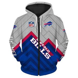 Buffalo Bills Hoodie Football Zipper Sweatshirt Sports Hooded Jacket Fans Gift