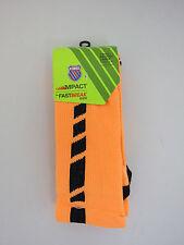K-Swiss 2 Pack Impact Fast Break Socks Boys Shoe Size 3-9 Neon Orange/Black NWT