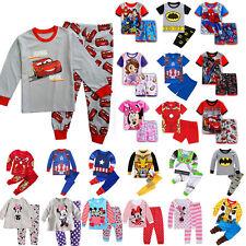 Kinder Unisex Pyjama Sets Schlafanzug Langarm Cartoons Outfits Nachtwäsche Anzug