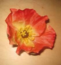 3.5 Orange Poppy Silk Flower Brooch Pin Tropical