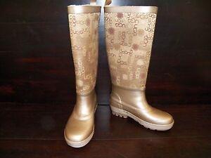 New Womens UGG Wallingford Gold Rubber Sheepskin Logo Rain Boots