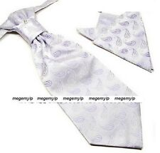 Men Tuxedo Ascot Scrunch Ruche Purple Paisley Cravat Pre Tie + Handkerchief Set