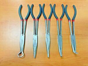 x5 280mm 11'' Long Reach Nose Pliers Set Straight Bent Tip Mechanic Hose Gripper