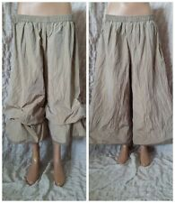Lilith amazing quirky crinkled beige gaucho parachute arty boho trousers size L