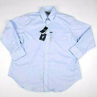 LRL Ralph Lauren Dress Shirt Mens UltraFlex Classic Fit Blue Stretch 17 32/33