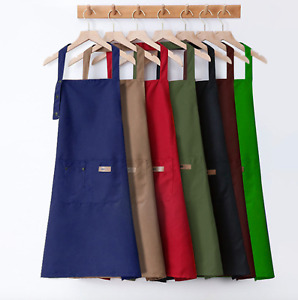 Water-proof Unisex Cotton Canvas One Side Button Kitchen Apron Pinafore Home