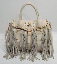 $2750 Prada Italy Off White Vitello Shine Leather Fringe Satchel Shoulder Bag