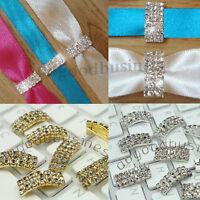 5-100pcs Rhinestone Diamante Buckle Ribbon Slider Wedding Party Cards Decor