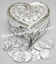 WEDDING CEREMONY SILVER HEART ARRAS DE BODA 13 UNITY COINS SINGLE HEART NEW CUTE