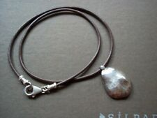 Silpada Sterling NUGGET Pendant ON BROWN Leather Necklace N1456