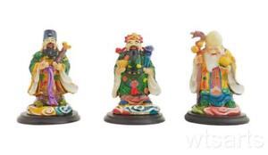 Small Colour Resin San Xing, Three Planets, Fu Lu Shou