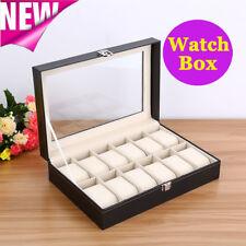 12 Grids Carbon Fiber Watch Gift Box Storage Case Jewelry Display Organizer