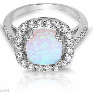 Large White Opal Cushion Opal Cubic Zirconia Sterling Silver Ring