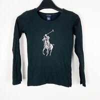 Polo Ralph Lauren Girls Black Silver Long Sleeve Bog Pony Shirt Size Small