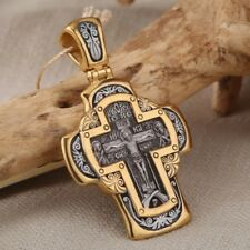 Kreuz Russische Kreuzanhänger Silber 925 vergoldet 999° Anhänger Gebet Zum Kreuz