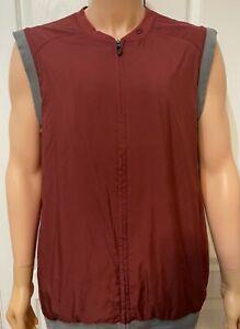 Oakley Golf Vest Zip Range Sleeveless Ellipse Logo Maroon Dark Red Men's Size XL