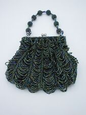 Clutch Hand-Held Purse Dangle Beaded Floral Metallic Green Blue Black Evening