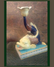 "50's Style Ceramic Dolphin Fish Candle Holder ~ 9.5"" Tall ~ Florida Chic ~ Zrike"