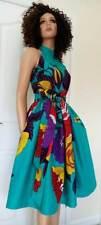 'Azure Demona' African Fabric Sleeveless Midi Dress 100 % Wax Cotton Handmade