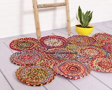 Hand Made Bohemian Braided Cotton Area Rug in Multi Color Chindi Round Design
