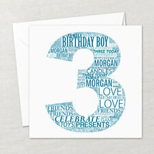 Personalised Handmade Happy Birthday 1st, 18th, 21st, Any Age Word Art Card Gift
