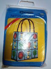 VTG Caron Needlepoint Plastic Canvas Apple Tote Purse Kit #4069 Wood Handles NOS
