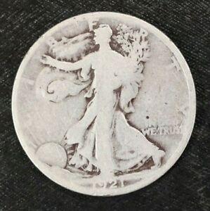 1921 D Walking Liberty Half Dollar, Original, KEY Date Silver 50C - L9B16