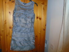 Gorgeous silk short silver sheen party dress, tiered on the front, SAVIDA size 8