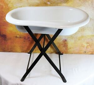 Antique French Enamel Baby Bath Original Wrought Iron Stand Planter Wine Cooler
