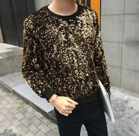 Mens Sequins Crewneck Long Sleeve Loose Blouse Outwear Bar Loose Tops T-Shirts