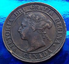 Very Fine Rare Low Mintage Chocolate Brown 1896 Canada Large Cent Victoria,