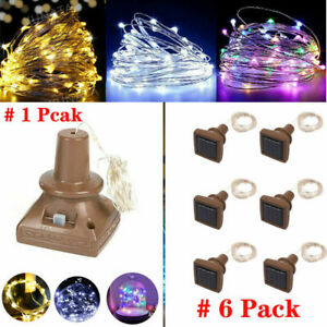 6 PCS 20 LED Wine Bottle Cork Copper Wire Fairy Lights Starry Solar Powered Lamp