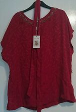 monsoon rima top hand embellished beads size 16 red berry floral bnwt belt