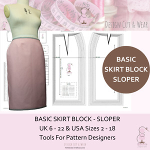 BASIC SKIRT BLOCK PATTERN SIZES 8 TO 22  Design Your Own Patterns & Slopers !