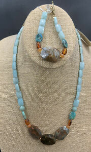 Barse Grainary Necklace & Bracelet- Mixed Stones- Bronze- NWT