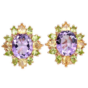 NATURAL AAA PURPLE AMETHYST PERIDOT & CITRINE STERLING 925 SILVER DROP EARRING