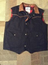 MENS SCHAEFER BLACK WOOL NYLON LINED JACK DANIEL'S VEST SIZE XL USA LEATHER TRIM