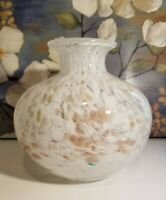 Murano Style White with Gold Accents Spatter Art Glass Vase