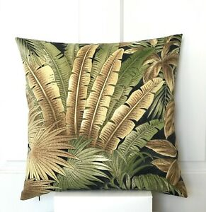 """Tommy Bahama Indoor/Outdoor Tropical Palm/Fern Leaf Cushion Cover 18"""""""