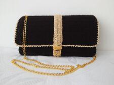 Women Handbag Wedding Party Prom Shoulder Evening Clutch Black And Gold Bag
