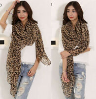 160*50cm Women's Long Style Wrap Lady Shawl Leopard Chiffon Scarf Scarves Stole