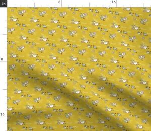 School Supplies Floral Pencil School Double Take Spoonflower Fabric by the Yard