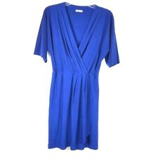 1a28ae66362a8d Eliza J Women s Blue Wrap Dress Size 8 Medium Pleated Short Sleeve V-Neck  01K