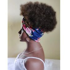 Floral Pink Headband  / Head wrap wig Afro Wig Ponytail 2in1 Wrapwig Fusion