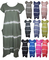 Womens Italian Tiedye Lagenlook Quirky Boho Jersey Cotton Two Pocket Tunic Dress