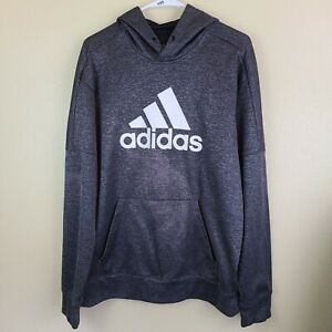 ADIDAS Mens Medium Pullover Athletic Hoodie / Sweat Shirt ~ Gray/White Logo